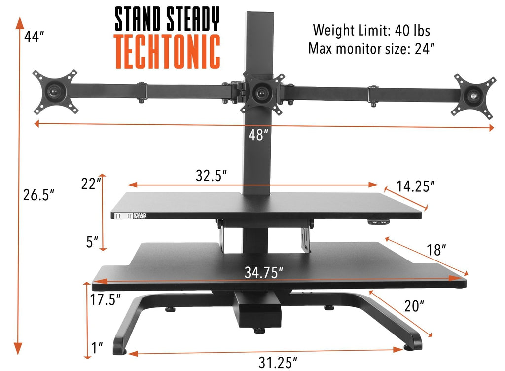stand steady standing desk converter with triple monitor mount specifications