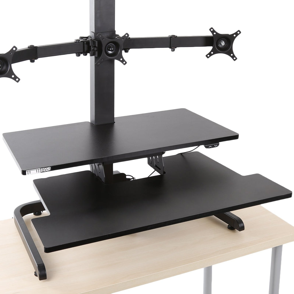 standing desk converter with monitor arms has 2 extra large surfaces