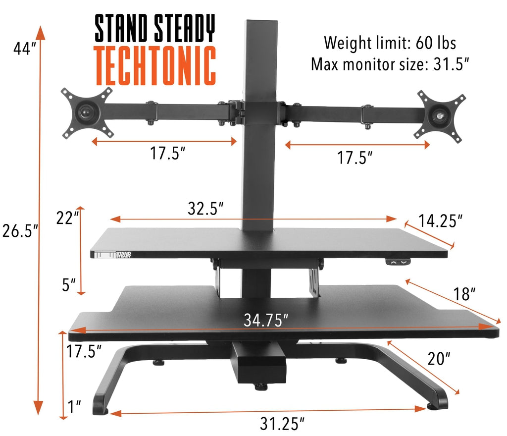 stand steady standing desk converter with dual monitor mount specifications