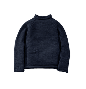 Indigo Cotton Fisherman Sweater, Navy