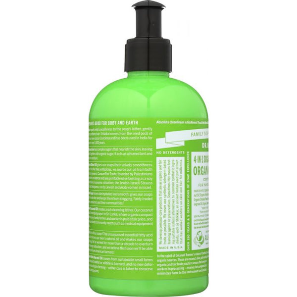 DR. BRONNER'S: 4-in-1 Sugar Lemongrass Lime Organic Pump Soap Body Wash, 12 oz