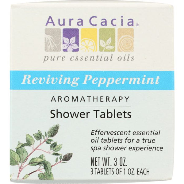 AURA CACIA: Bath Salt Aromatherapy Shower Tablets Reviving Peppermint 3 tablets (1 oz each), 3 oz