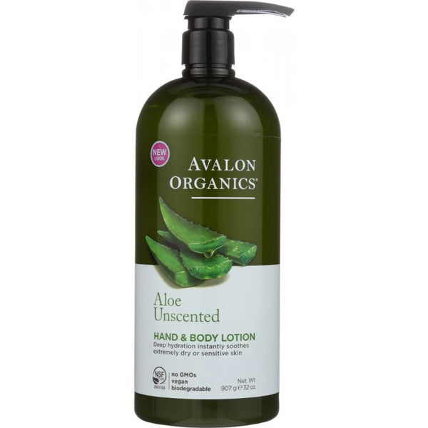 AVALON ORGANICS: Hand & Body Lotion Aloe Unscented, 32 oz
