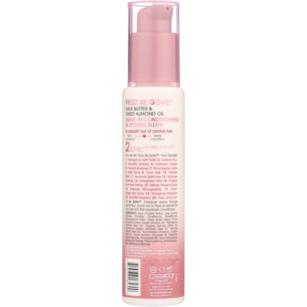 GIOVANNI COSMETICS: 2Chic Frizz Be Gone Leave-In Conditioner & Styling Elixir Shea Butter & Sweet Almond Oil, 4 oz