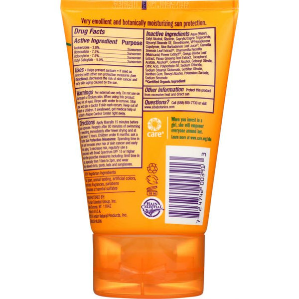 ALBA BOTANICA: Natural Very Emollient Sunscreen Fragrance Free SPF 30, 4 oz