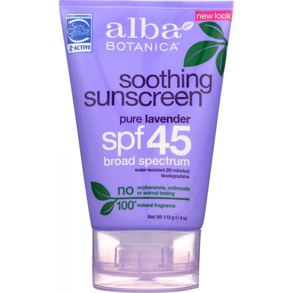 ALBA BOTANICA: Soothing Sunscreen Pure Lavender SPF 45, 4 oz