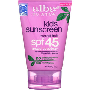 ALBA BOTANICA: Natural Very Emollient Sunscreen Kids SPF 45, 4 oz