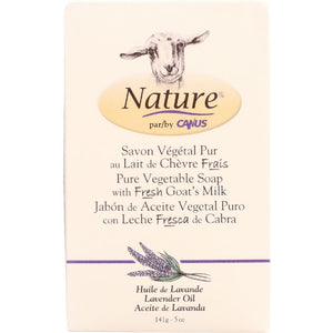 NATURE BY CANUS: Pure Vegetable Soap Bar with Fresh Goat's Milk Lavender, 5 Oz