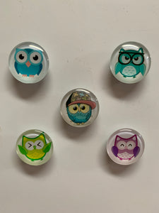 Handmade Glass Cartoon Owl Fridge/Memo Board Magnets (set of 5)