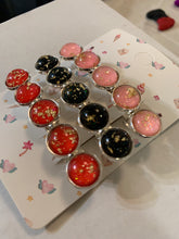 Load image into Gallery viewer, Handmade Pink, Black, & Red with Gold Flakes Silver French Barrettes (set of 3)