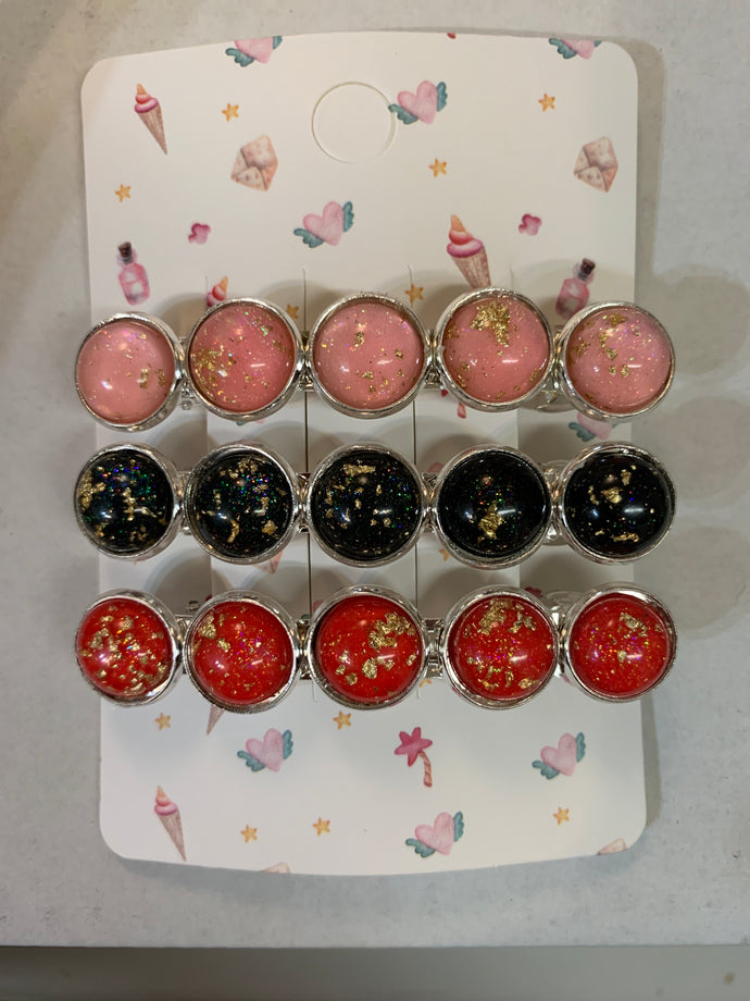 Handmade Pink, Black, & Red with Gold Flakes Silver French Barrettes (set of 3)