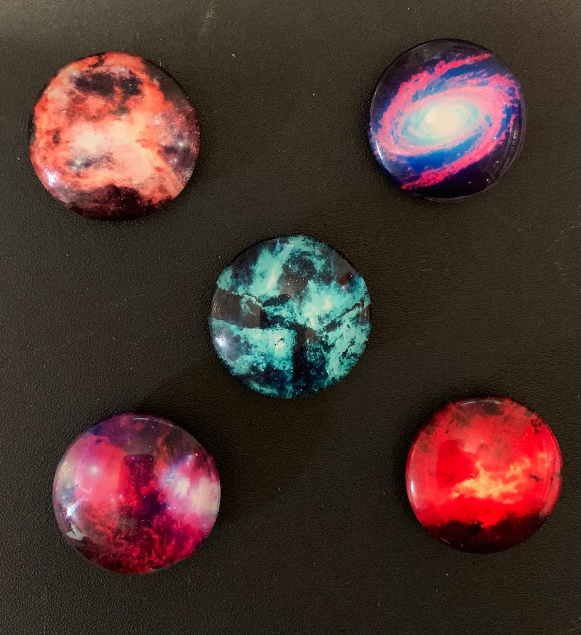 Handmade Galaxy Design #3 Glass Fridge/Memo Board Magnets (set of 5)