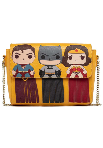 DC Heroes Pop! by Loungefly Fringe Crossbody Purse