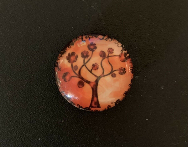 Handmade Orange/Brown Tree Design Glass Fridge/Memo Board Magnets (set of 5)