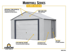 Load image into Gallery viewer, ARROW Sheds Murryhill 12' x 10' Metal Shed / PreFab Garage Kit - SKU: BGR1210FG