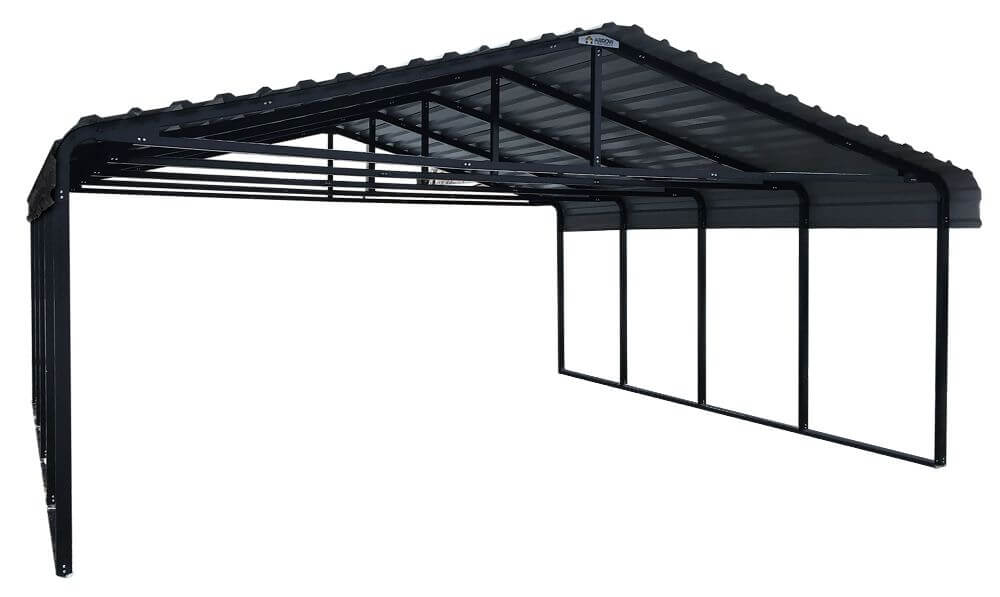 ARROW Metal Carport 20' x 20' - Charcoal