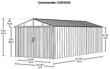 Load image into Gallery viewer, ARROW Commander 10x20x8 Metal Shed Kit - Eggshell