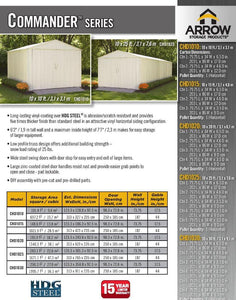 ARROW Commander 10x20x8 Metal Shed Kit - Eggshell