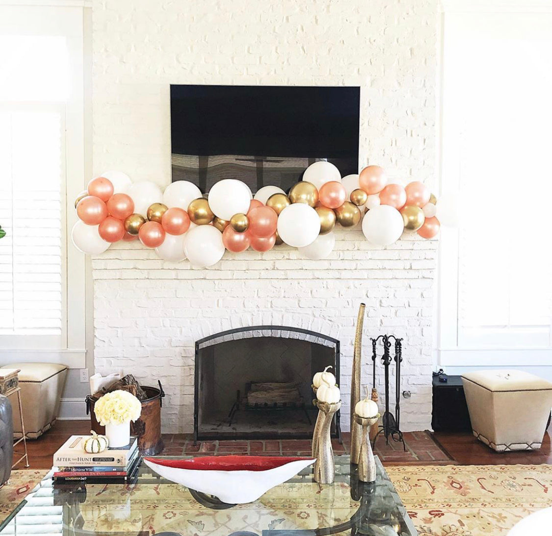 Pre-Made Balloon Garland - Fireplace Mantle
