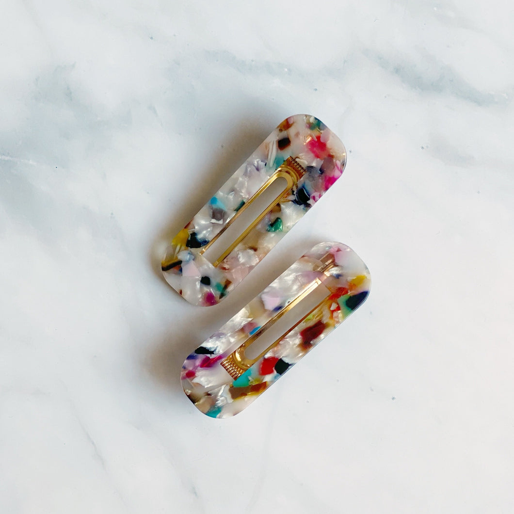 Hair Clips (Rainbow - Rectangular)