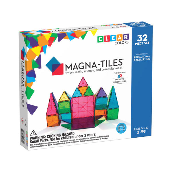 Magna-Tiles - Clear Colors - 32 Piece Set