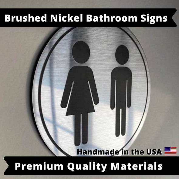"Bathroom Signs Airbnb Home Office |  Mens Womens Room | 5.5"" Weatherproof & UV Resistant with Adhesive Backing 