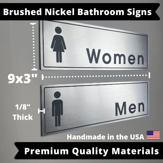 "Bathroom Signs Stainless Steel Home Office |  Mens Womens Room | 9x3"" Weatherproof & UV Resistant with Adhesive Backing 