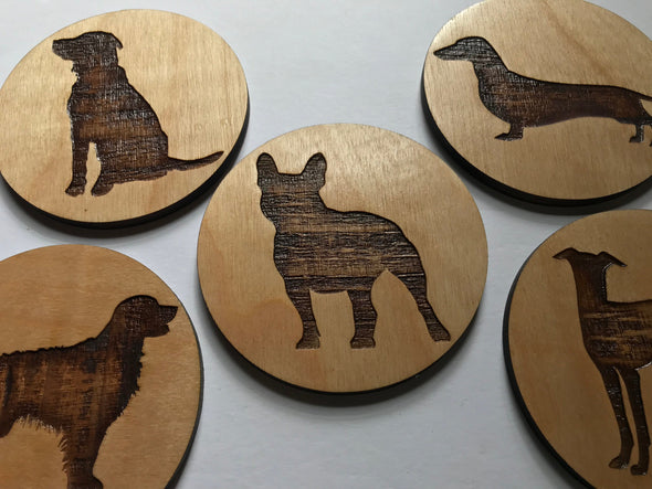 Custom Engraved Wooden Dog Breed Coasters | Birch Wood Drink Holders | Personalized Dog Lover Gift | Frenchie Doxie Golden Retriever