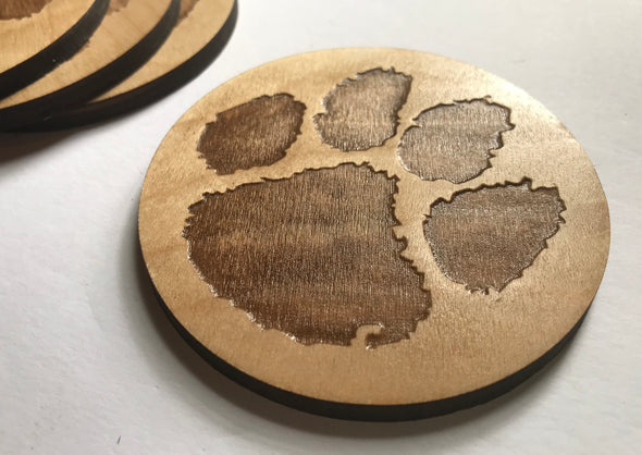 Custom Clemson Tigers Wooden Sports Team Coaster | Custom Baseball Football Hockey Present | Personalized Christmas Gift | Dog Paw