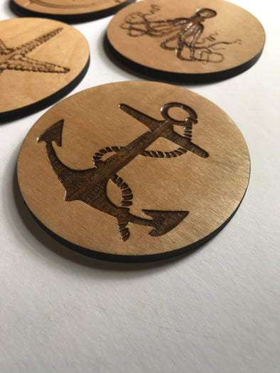 Anchor Coasters | Custom Coastal Decor | Beach Cottage | Boat Theme Personalized Wood Drink Holders | Engraved Coasters | Nautical Gift