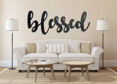 Blessed Cutout Wall Hanging | LARGE Entryway Sign | Dining Room Decor | Kitchen Window | Housewarming | Wedding Present