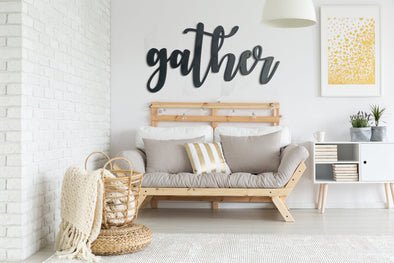 Gather Cutout Wall Hanging | LARGE Entryway Sign | Cafe Dining Room Decor | Coffee Shop Kitchen Window | Housewarming | Wedding Present