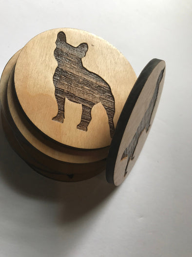 French Bulldog Engraved Wooden Dog Breed Coasters | Birch Wood Drink Holders | Personalized Dog Lover Gift | Frenchie Gifts for Her