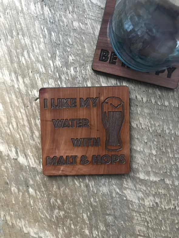 Funny BEER Coasters | Malt & Hops | Man Cave Groomsmen Gift |Inappropriate Engraved Wood Drink Holders | Home Bar Decor