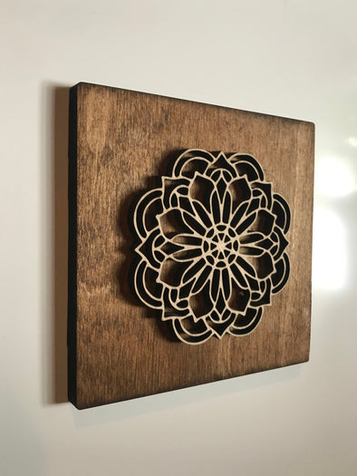 Wood Mandala Cutout Sign | Yoga Studio Display | Massage Office Decor | Coffee Shop Gallery Wall Hanging | Cafe Picture