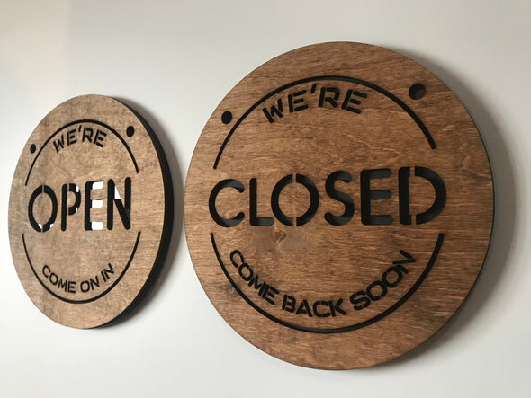Reversible Open Closed BUSINESS Door Sign | Wood & Acrylic Two Sided Shop Sign Store Signage Coffee Shop Custom Options Available!