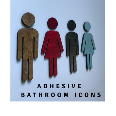 Bathroom Icon WOOD or ACRYLIC Men's Women's Coffee Shop Office Restaurant Restroom Signs | Modern Business Handicap Home Bar | ADA Sign