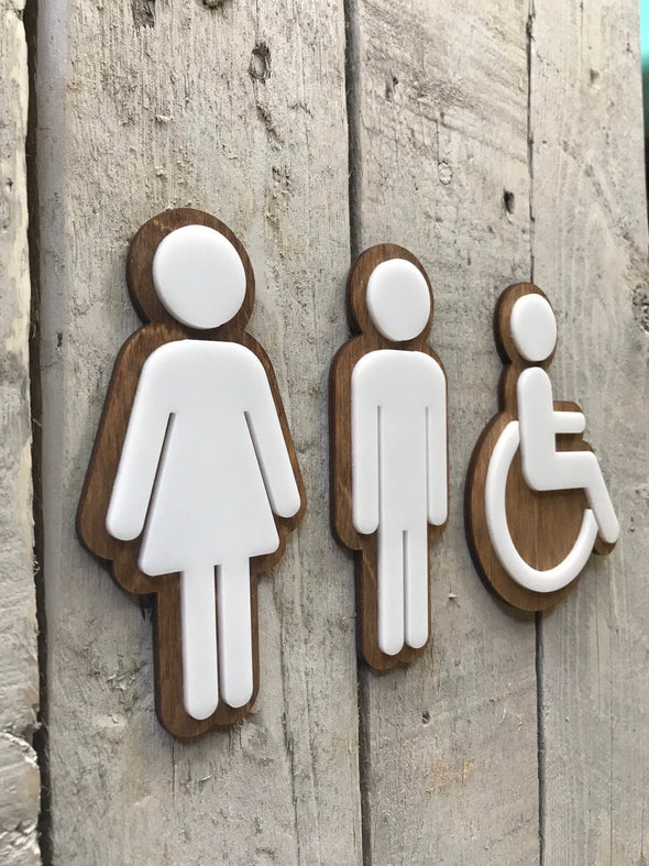 Bathroom Icon Men's Women's Rustic Coffee Shop | Wood & Acrylic Office Restaurant Restroom Signs Business Handicap Home Bar | ADA Sign