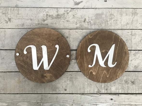 Womens Mens Unisex Office Cafe Restroom Signs | Modern Acrylic Coffee Shop Business Handicap Bathroom  | Rustic Wood | 9 x 9 ""