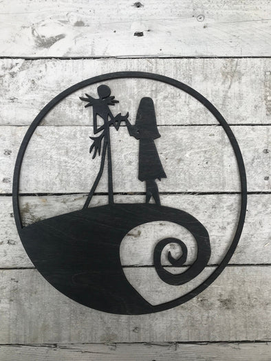 Jack and Sally Nightmare Before Christmas Cutout Wall Hanging | Tim Burton Halloween Decoration Spooky Hand Painted Decor