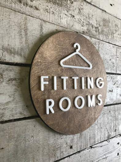 Fitting Room Sign | Business Clothing Boutique Store Retail Window Display | Custom Shop Rustic Shop Decor | 3M Adhesive Easy to Install
