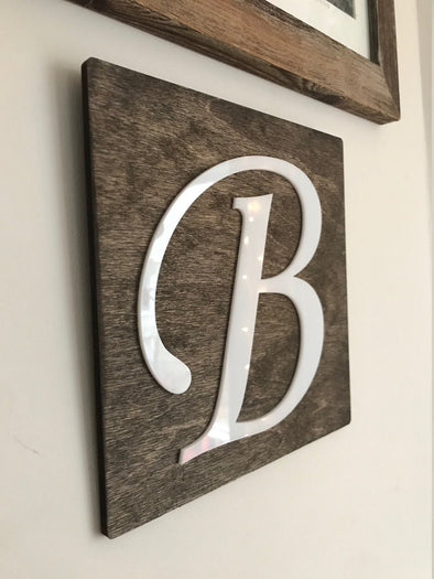 Last Name Initial House Sign | Rustic Housewarming Present for Wedding Gallery Wall | Custom Acrylic Letter on Wood