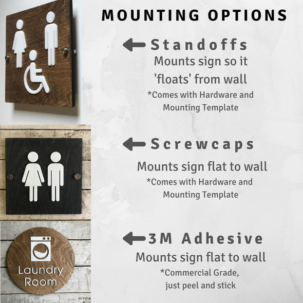 Office Door Wayfinding Signs Wood Acrylic Custom Business Rustic Decor 9 x 9 "
