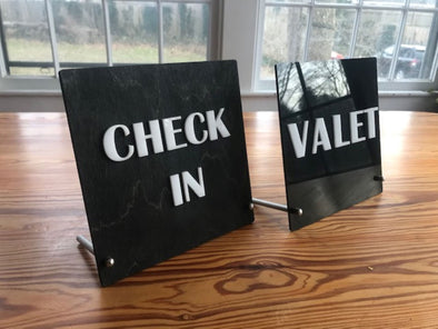 Check In Valet Hotel Counter Top Sign | Freestanding Custom Bed and Breakfast Restaurant Bakery Ice Cream Stand | Cafe Decor Display