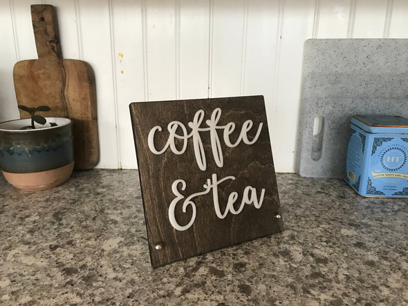 Coffee & Tea BUSINESS Counter Top Sign | Freestanding Custom Bed and Breakfast Restaurant Bakery Ice Cream Stand | Cafe Decor Display