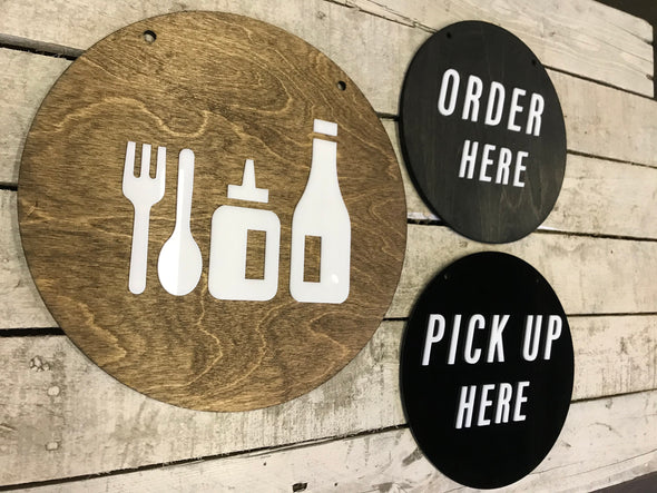 Condiment Icons Restaurant BUSINESS Sign | Custom Cafe COFFEE SHOP Bakery Ice Cream Stand Display