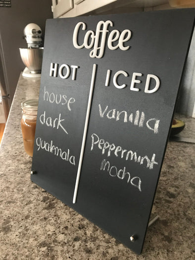 Coffee Flavor Chalkboard Latte Drink Menu Board Countertop Sign | Freestanding Custom Cafe Shop Restaurant Bakery Ice Cream Stand Display