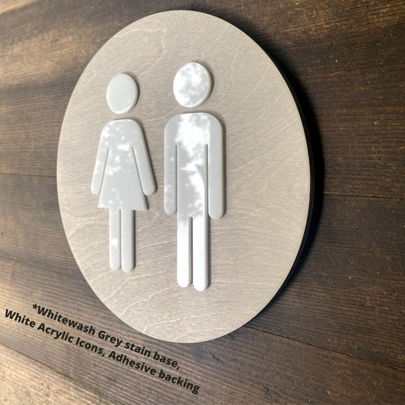 Women Men Unisex Office Cafe Restroom Signs Acrylic Coffee Shop Business Handicap Bathroom Rustic Wood 9 x 9 "