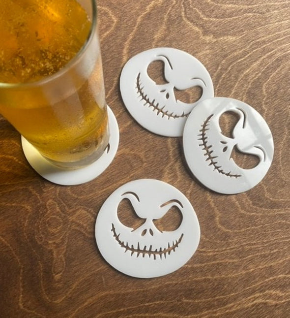 Nightmare Before Christmas Jack Skellington Set of 4 White Acrylic Drink Holders | Halloween Decor | Bar Supplies | Coffee Coaster