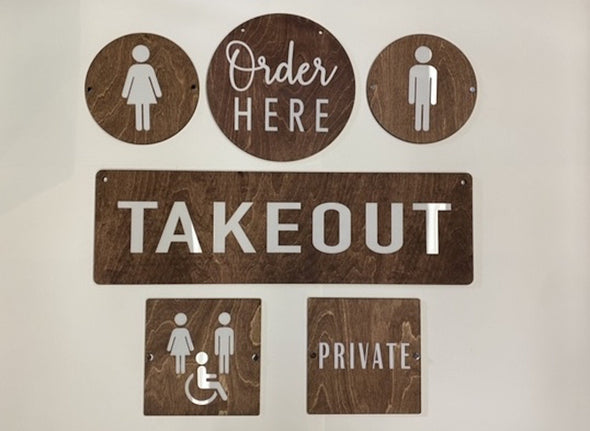 Takeout Directional Sign BUSINESS Sign | Custom Bar Restaurant Bakery Shop Ice Cream Stand | Cafe Decor Signs | Rustic Modern Display
